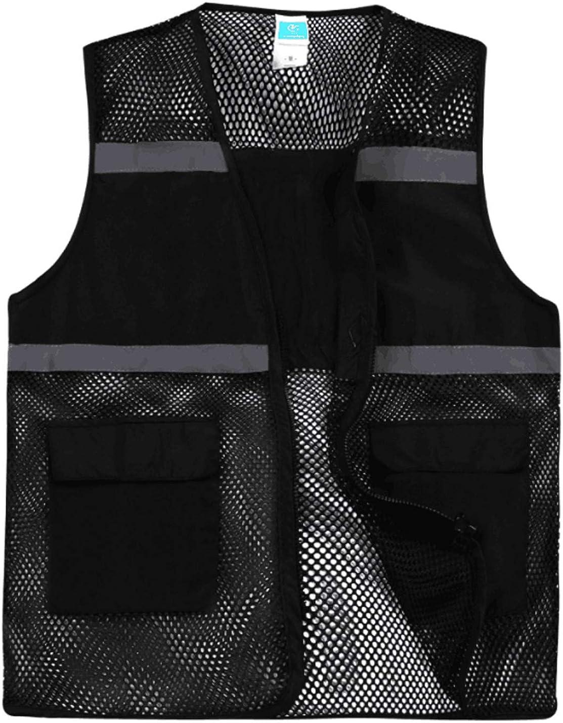Yimoon Women's Lightweight Outdoor Work Volunteer Mesh Zip Vest with Reflective Strips