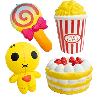 SQUISHYBUDDY ECO friendly slow rising stress relief cute JUMBO SQUISHY toys , PACK OF 4 including squishy buddy, strawberry cake, popcorn, cute lollipop great gift for decorations, parties.
