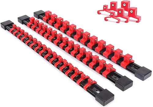 """Stainless Steel Socket Rack Holder 1//4/""""3//8/""""1//2/"""" 16 Clips Tool Organizer RF"""