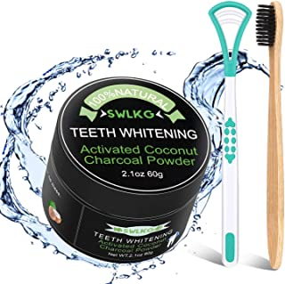 Activated Charcoal Natural Teeth Whitener Teeth Whitening Charcoal Powder Proven Safe for Enamel 2.1 oz by SWLKG