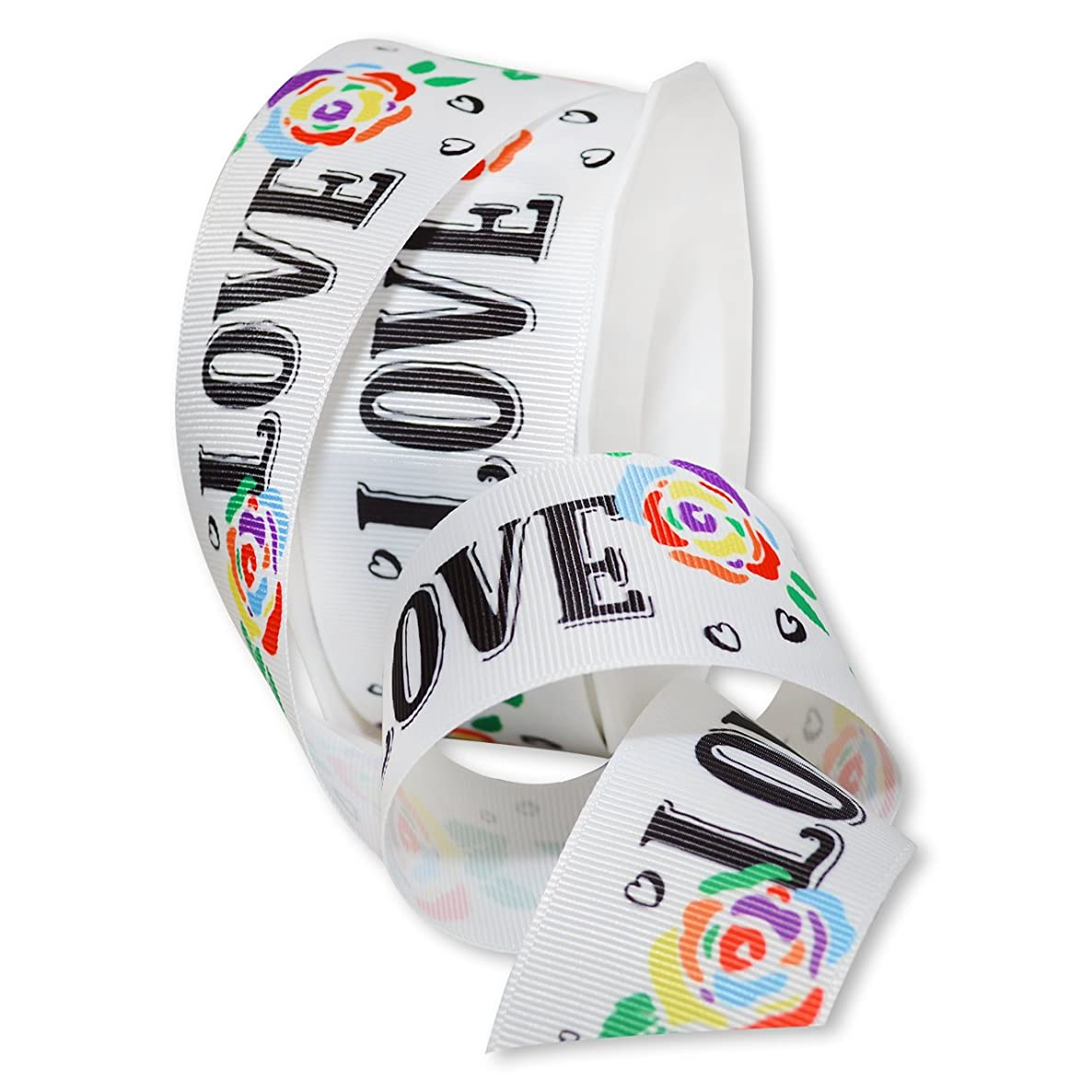 Morex Ribbon Sweet Love Ribbon, Polyester, 1 1/2 inches by 25 Yards, Rainbow, Item 8654.38/25-698, 1 2