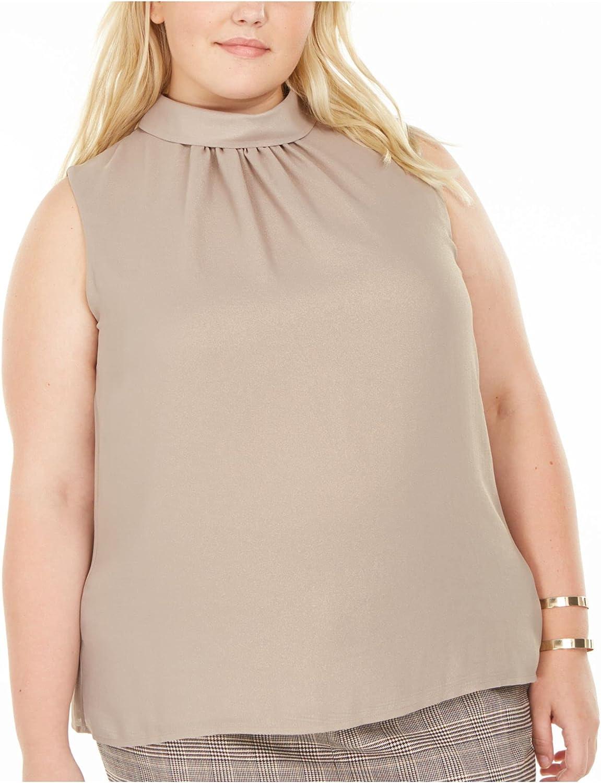 bar III Womens Gold Pleated Sleeveless Wear to Work Top Size 1X