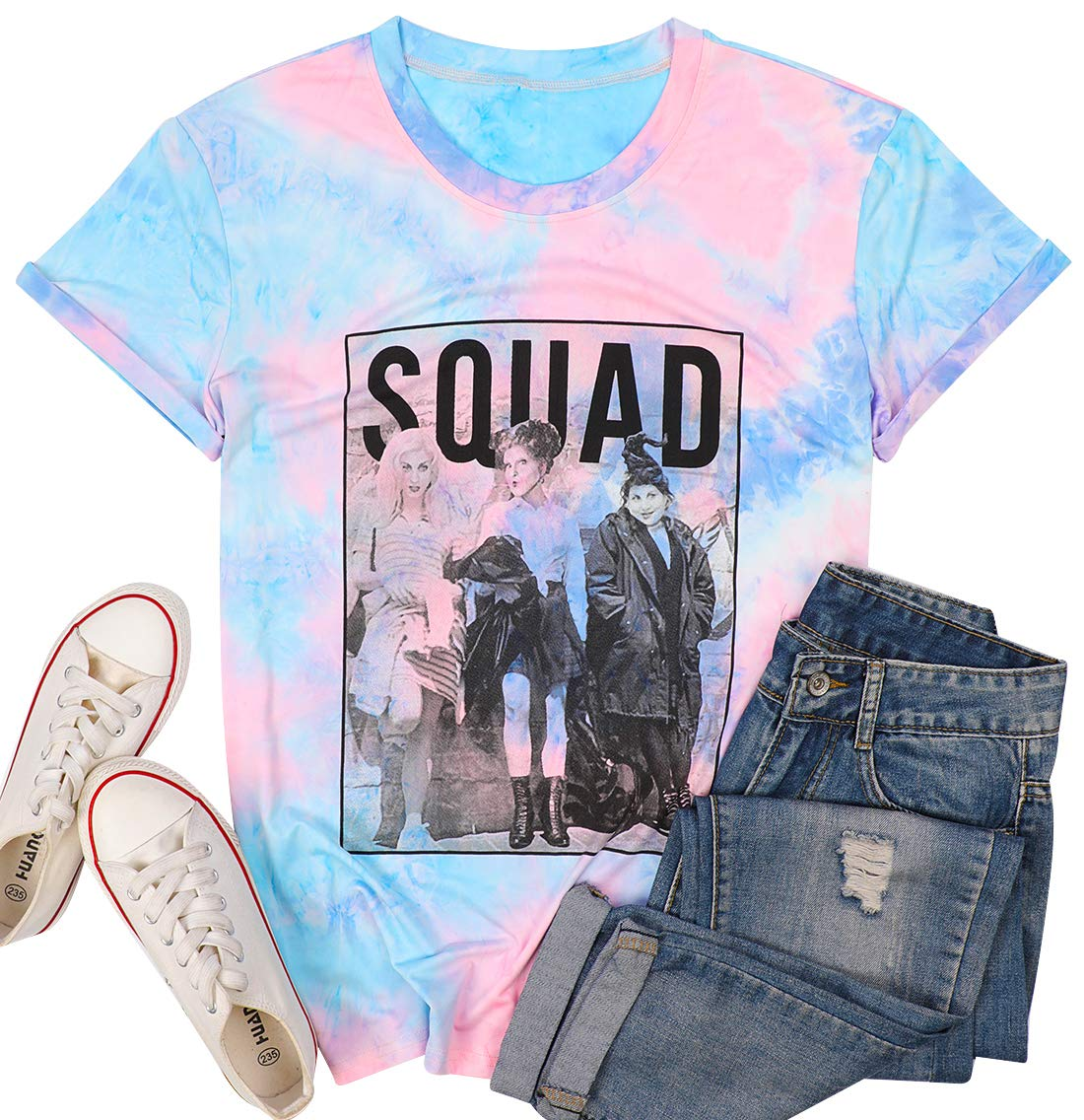 BANGELY Sanderson Sisters Squad Cute T Shirt Halloween Graphic Tees for Women Hocus Pocus Funny Shirts Fall Casual Tops