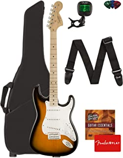 Fender Squier Affinity Series Stratocaster Guitar - Maple Fingerboard, 2-Color Sunburst Bundle with Gig Bag, Tuner, Strap, Picks, and Austin Bazaar Instructional DVD