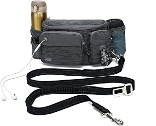 TUDEQU 4-in-1 Hands Free Dog Zero Shock Absorbing Bungee Leash with a Multifunctional Waist Bag, 5.8FT/178cm Leash with Ca...