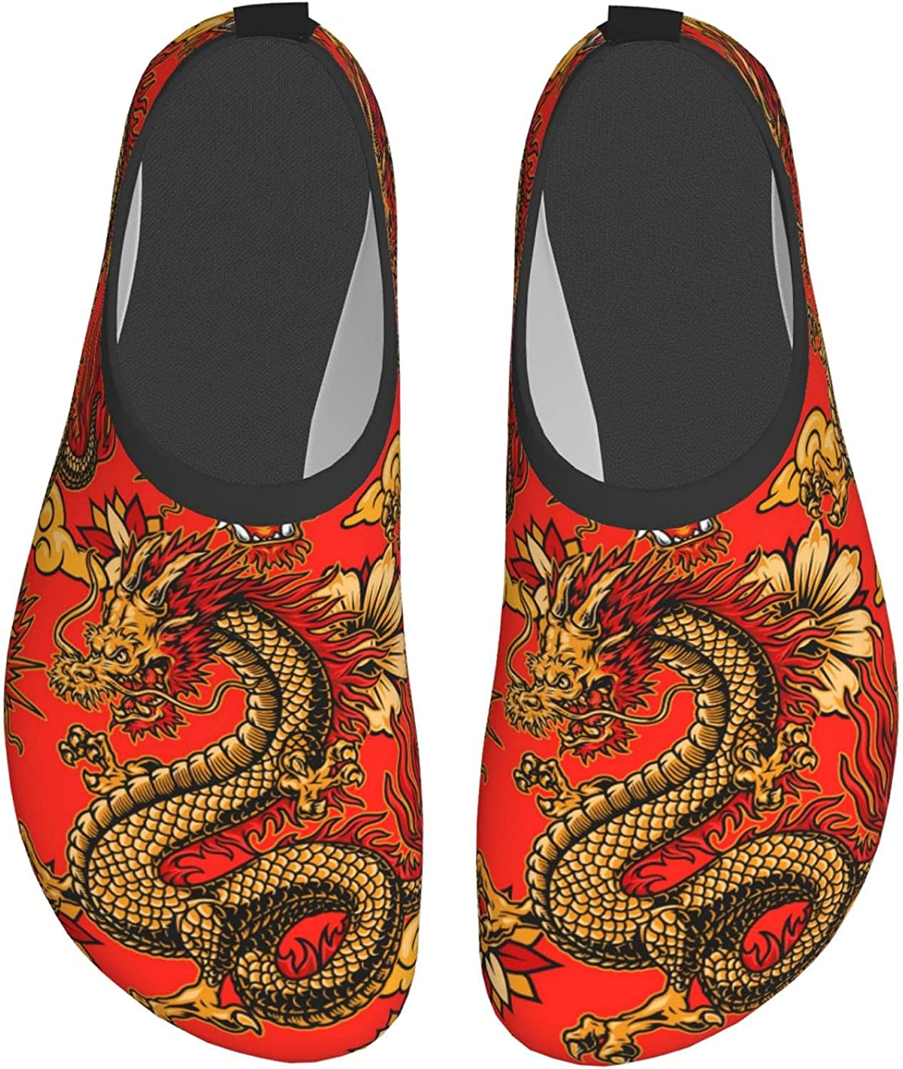 Fantasy Dragons Flowers and Clouds Water Shoes for Womens Mens B