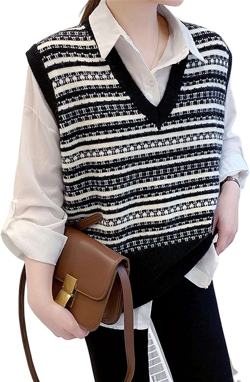 Zzple Knit Sweater Stack Wear Vest Sweater Vest Outer Wear V-Neck Black and White Striped Retro (Color : Black, Size : One Size)