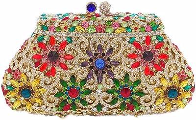 Elegante Damen-Handtasche mit Blumenmotiv und Kristallen, Abend-Clutch, Minaudiere Geldbörse, für Hochzeit, Cocktail.