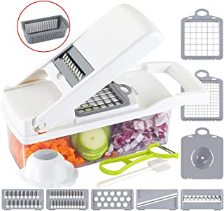 Ourokhome Onion Chopper Vegetable Dicer - 7 Blades Mandolin Slicer Pro Cutter with Egg Separator and Drain Basket(White)