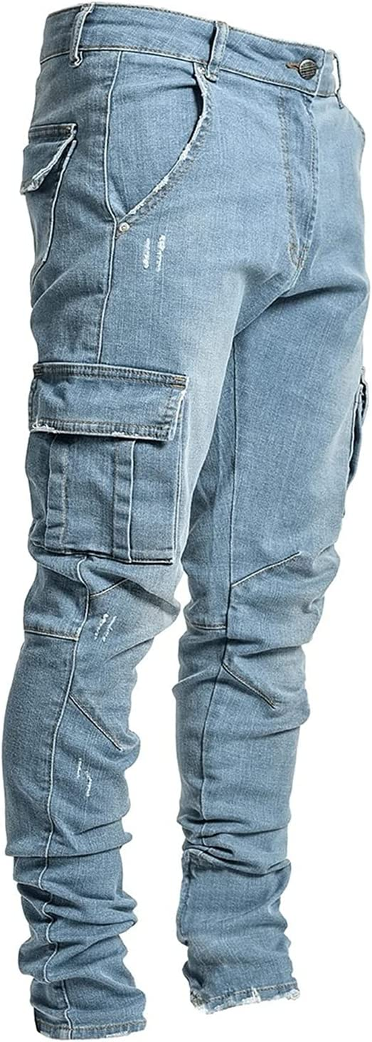 Men's Moto Biker Slim fit Discount is also underway Denim with Multi Pockets Jeans Las Vegas Mall Skinny