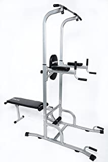 Ader Adjustable Muti-Function VKR Power Tower Chin/Dip Machine, Ab Station Pull up Station w/Sit Up Bench for Home Fitness