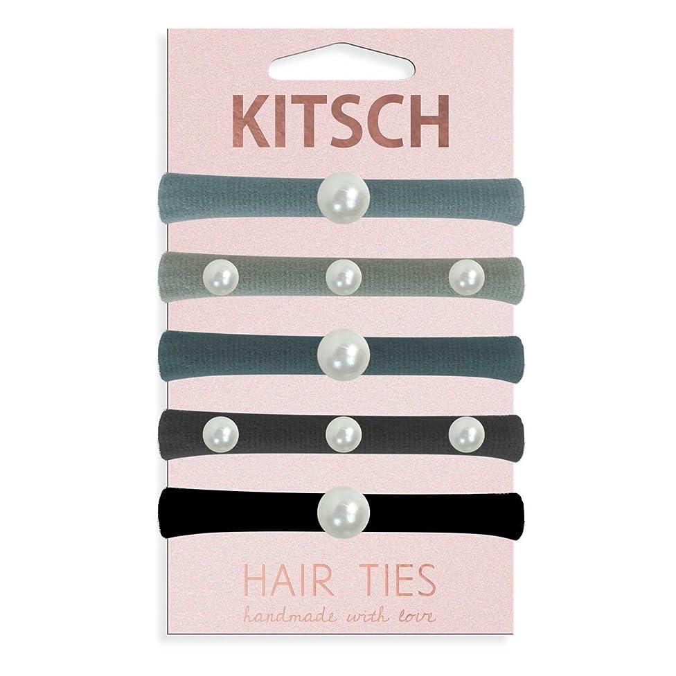 Kitsch 5 Piece Premium Knotted Hair Ties Set (Pearl Hair Ties (Black/Gray)))