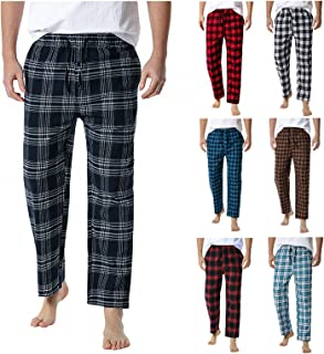 Men's Pyjama Bottoms Pants Cotton Classic Checked Trousers Comfy Loungewear Soft Nightwear Loungewear with Pockets and Dra...