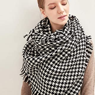 Scarves Scarf Scarves Female Black and White Plaid Scarf Thick Long Shawl Warm Wild Scarf Tassel Soft Scarf Scarves (Color : Black and White, Size : 200 * 90cm)