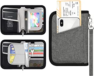 Family Travel Passport Holder Wallet RFID Blocking Document Tickets Organizer with Zipper for Woman & Man Fit 2 Passports (Grey-Small)