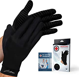 Doctor Developed Copper Full Length Compression Gloves [Pair] and Doctor Written Handbook - Relief from Joint Symptoms, Raynauds Disease, Carpal Tunnel & Hand Conditions (S)