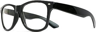 Skeleteen Retro Nerd Costume Glasses - Oversized Black Hipster Eyeglasses with Clear Lenses - 1 Pair