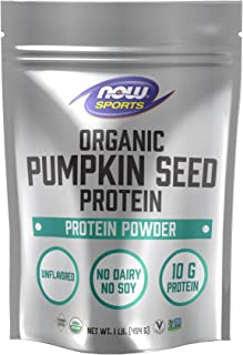 Now Foods Now Sports Nutrition, Organic Pumpkin Seed Protein Powder with 10g of Protein, Certified Non-GMO, Unflavored, 1-...