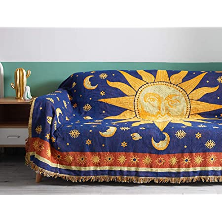 """Erke 70"""" x 90"""" Sun and Moon Throw Blanket, Double Sided Cotton Woven Hippie Throws Wicca Blankets for Couch Bed Recliner Featuring Decorative Boho Fringe - Oversized, Yellow / Blue"""