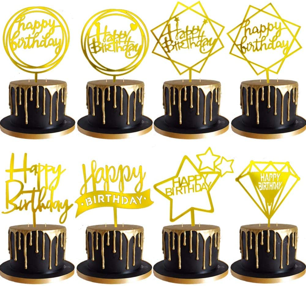 DeMissir 8 Pack Gold Happy Recommended Acrylic Topper Birthday Ranking TOP14 Cake Birthda