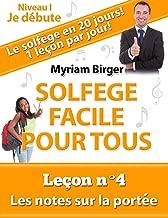 Solfège Facile Pour Tous ou Comment Apprendre Le Solfège en 20 Jours ! - Leçon N°4: Les notes sur la portée (French Edition)