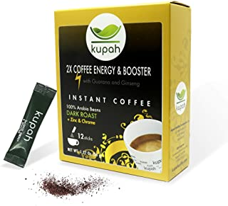 High Caffeine Coffee | Kupah 2 x Coffee Energy & Booster Instant Coffee Singles | 12ct w/ Guarana Ginseng in single serve ...