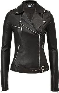 VearFit Women's Zealious Black Biker Motocycle Moto PU Faux Leather Jacket Missy Winter