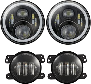7 inch Jeep LED Headlights with White DRL Halo Ring Amber Turn Signal + 4 inch LED Fog Lights w/ 9006 Plug Compatible with Jeep Wrangler JK LJ TJ 1997-2017 (4PCS Total)