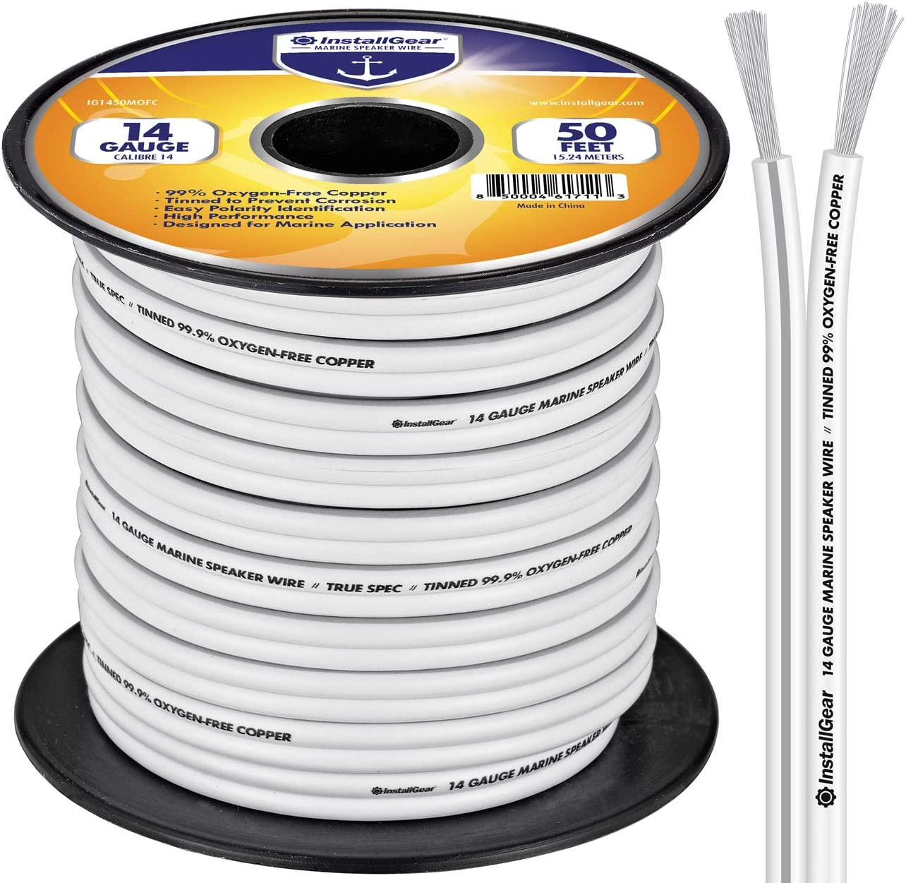 InstallGear 8 Gauge Tinned OFC Heavy Duty Boat Marine Speaker Wire, 8 feet
