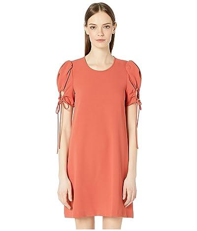 See by Chloe Drawstring Sleeve Crepe Mini Dress (Peppery Red) Women