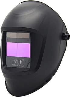 ATF Solar Power Auto Darkening Welding Matte Black Helmet,Large Viewing Area 3.94