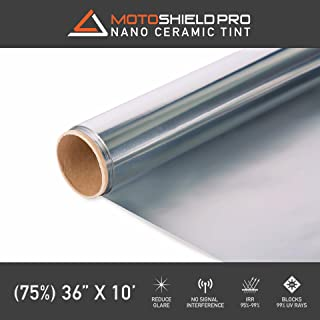 MotoShield Pro Ceramic Tint Film [Blocks Up to 99% of UV/IRR Rays] 36 Inches x 10 Feet - Window Tint Film Roll (75%)