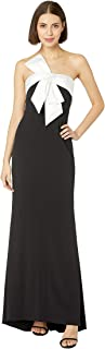 Women's Knit Crepe Evening Gown with Bow Detail