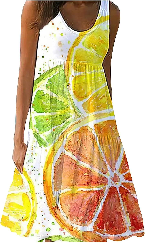 Sun Dresses Women Summer Women's Printed A-line Skirt Pullover O-Neck Tank Top Dress Womens Dresses
