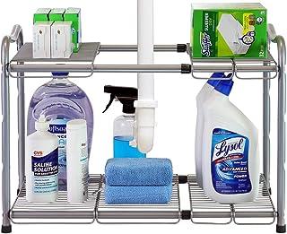 DecoBros Under Sink 2 Tier Expandable Shelf Organizer, Silver
