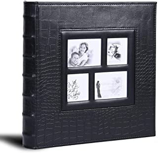 Photo Album for 600 4x6 Photos Leather Cover Extra Large Capacity for Family Wedding Anniversary Baby Vacation (Black)