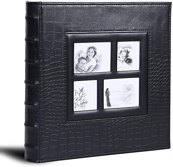 Photo Album For 600 4x6 Photos Leather Cover Extra Large Capacity For Family Wedding Anniversary Baby Vacation Black