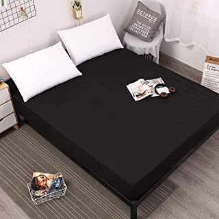 Koongso Cal King Size 100% Brushed Microfiber Black Waterproof Mattress Protector Terry-Cotton Surface Fitted Mattress Cover with Elastic Band