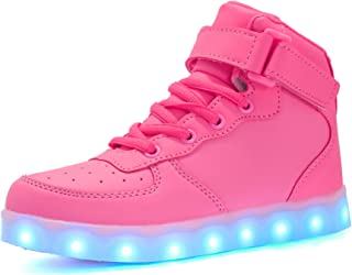 Voovix Baskets Montants Enfant LED Lumières Multicolores avec Télécommande-Chaussures USB Rechargeable pour Garçons et Filles