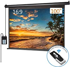 Electric Projector Screen Motorized 100 inch 16:9 HD Diagonal with Remote Control, Black