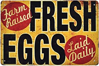 Flytime Farm Fresh Eggs Raised Rustic Metal Sign Retro Bar Country Home Bedroom Wall Restaurant Hanging Signs 8X12Inch