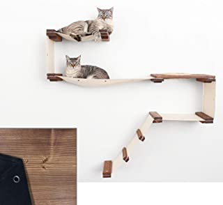 CatastrophiCreations Cat Mod Play Handcrafted Wall-Mounted Activity Cat Tree Shelves - English Chestnut/Black