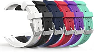 MoKo Band Compatible with Samsung Gear S2 Classic, [6-Pack] 20MM Silicone Strap Fit Garmin Vivoactive 3/Galaxy Watch Active/Active 2/Ticwatch 2/E/Huawei Watch GT 42mm, Multi Colors