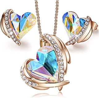"""MXIN""""Pink Angel 18K Rose Gold Jewelry Set Women Heart Pendant Necklaces and Stud Earrings Sets Embellished with Crystals f..."""