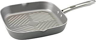 Farberware Specialties Nonstick Square Griddle / Grill Pan with Spout - 11 Inch, Platinum