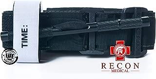 Recon Medical Tourniquet - (Black) GEN 3 Mil-Spec Kevlar Metal Windlass Aluminum First Aid Tactical Swat Medic Pre-Hospital Life Saving Hemorrhage Control Registration Card, AOS (4 Pack)