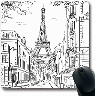 Tobesonne Mousepads Map Sketch Street Paris in Drawing City Scene Skyline Line Design Built Oblong Shape 7.9 x 9.5 Inches Non-Slip Gaming Mouse Pad Rubber Oblong Mat