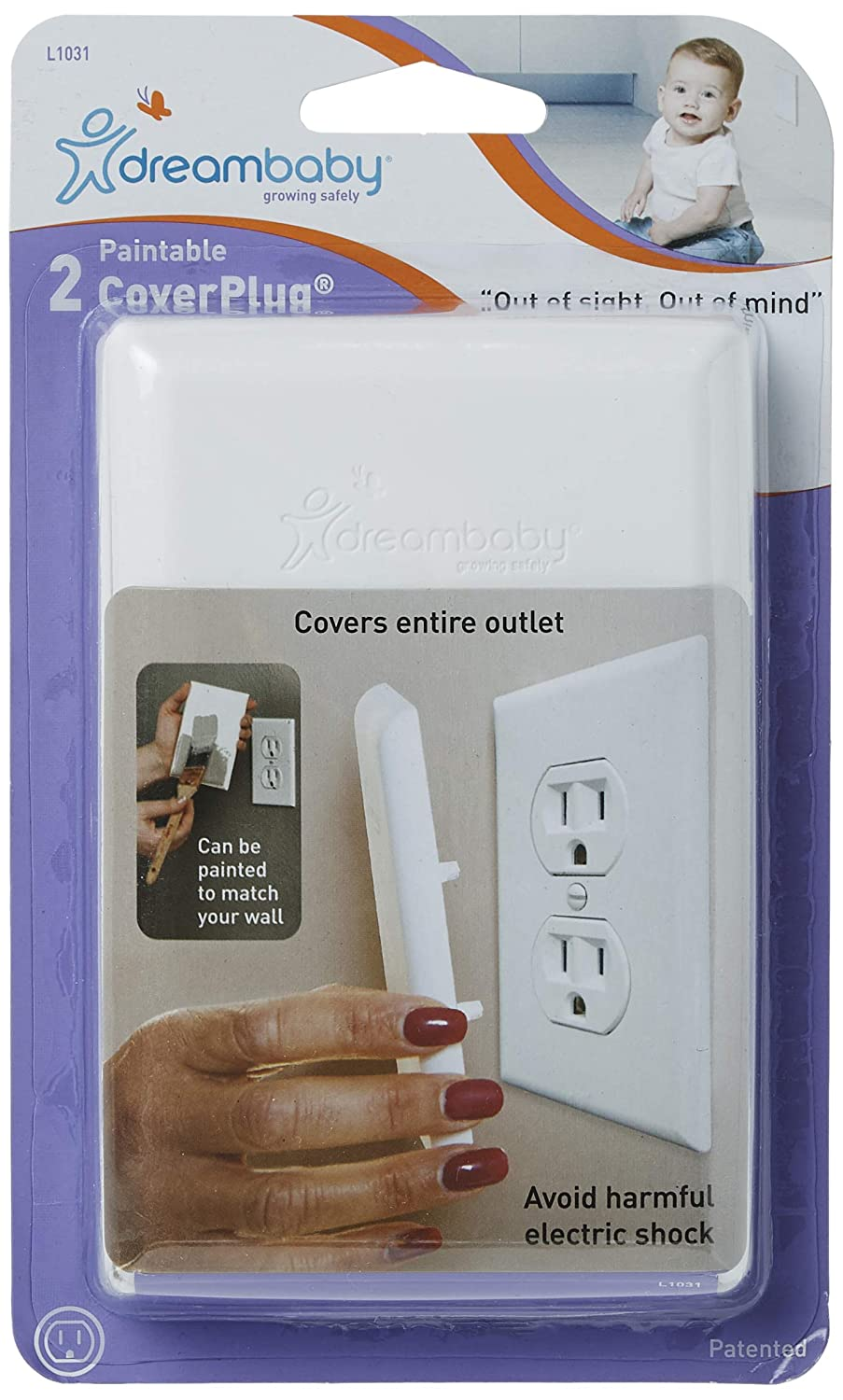 Dreambaby Paintable Cover Plug - Baby Safety Outlet Plug Cover (2 Pack)