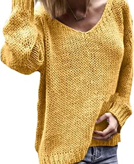 Women Solid Color Casual V-Neck Knit Relaxed Fit Pullover Sweaters