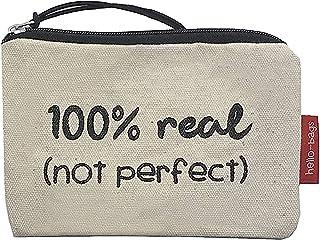 Hello-Bags Bolso Monedero/Billetero/Tarjetero. Algodón 100%. Blanco. con Cremallera y Forro Interior. 14 cm x 10 cm. Inclu...